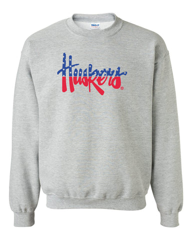 Nebraska Sweatshirt Red White And Blue Script Huskers