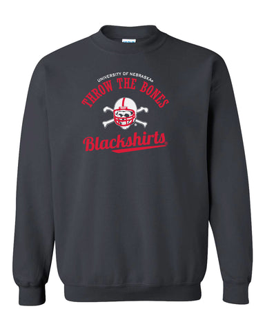 Nebraska Husker Crewneck Sweatshirt - Script Blackshirts THROW THE BONES