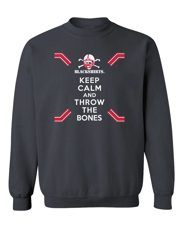 Nebraska Husker Crewneck Sweatshirt - Keep Calm and THROW THE BONES