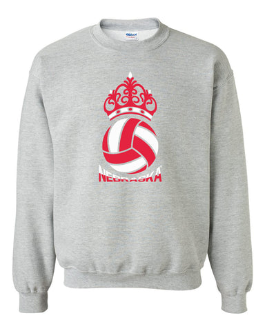 Nebraska Huskers Crewneck Sweatshirt - Nebraska Huskers Volleyball Crown