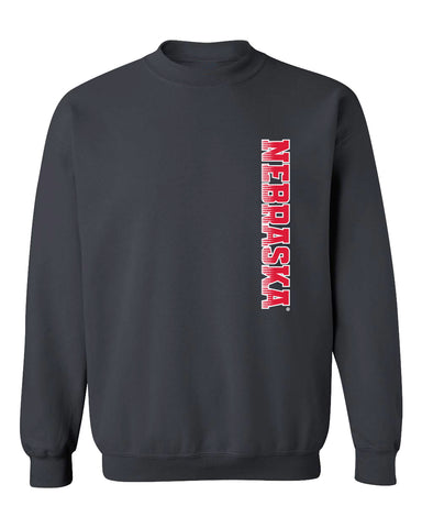 Nebraska Huskers Crewneck Sweatshirt - Vertical Nebraska Red & White Fade