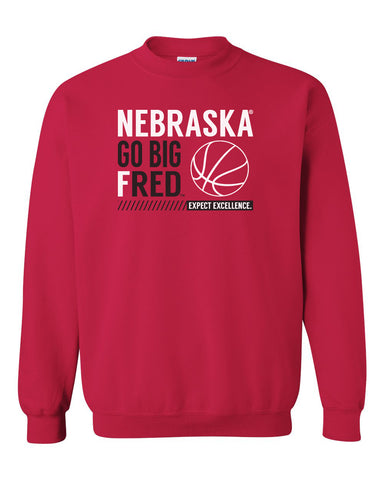 Nebraska Huskers Crewneck Sweatshirt - Nebraska Basketball - GO BIG FRED