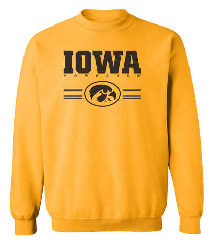 Iowa Hawkeyes Crewneck Sweatshirt - IOWA Hawkeyes Horizontal Stripe with Oval Tigerhawk