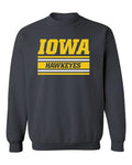 Iowa Hawkeyes Crewneck Sweatshirt - Horizontal Stripe Italic Iowa HAWKEYES