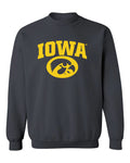 Iowa Hawkeyes Crewneck Sweatshirt - Arched IOWA with Tigerhawk Oval