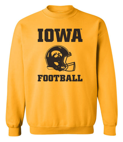 Iowa Hawkeyes Crewneck Sweatshirt - Iowa Football Helmet on Gold
