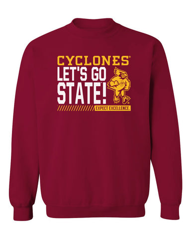 Iowa State Cyclones Crewneck Sweatshirt - Let's Go State - Expect Excellence