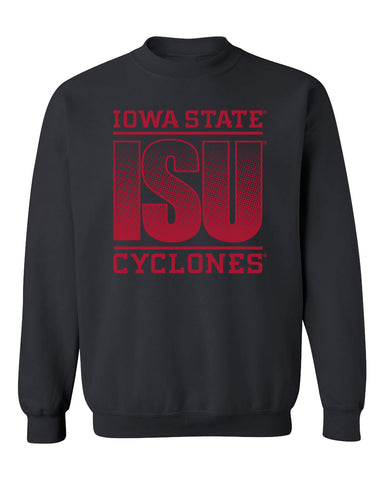 Iowa State Cyclones Crewneck Sweatshirt - ISU Fade Red on Black