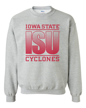 Iowa State Cyclones Crewneck Sweatshirt - ISU Fade Red on Gray