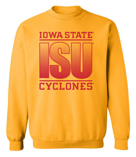 Iowa State Cyclones Crewneck Sweatshirt - ISU Fade Red on Gold