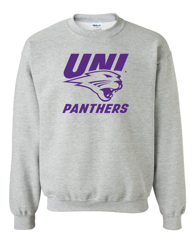 Northern Iowa Panthers Crewneck Sweatshirt - Purple UNI Panthers Logo on Gray