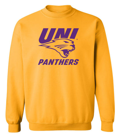 Northern Iowa Panthers Crewneck Sweatshirt - Purple UNI Panthers Logo on Gold