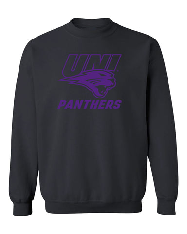 Northern Iowa Panthers Crewneck Sweatshirt - Purple UNI Panthers Logo on Black