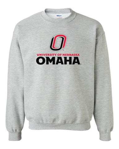 Omaha Mavericks Crewneck Sweatshirt - University of Nebraska Omaha with Primary Logo on Gray