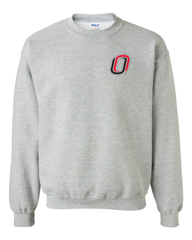 Omaha Mavericks Crewneck Sweatshirt - Trademarked O Logo - UNO Mavs