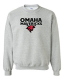 Omaha Mavericks Crewneck Sweatshirt - Omaha Mavericks with Bull on Gray