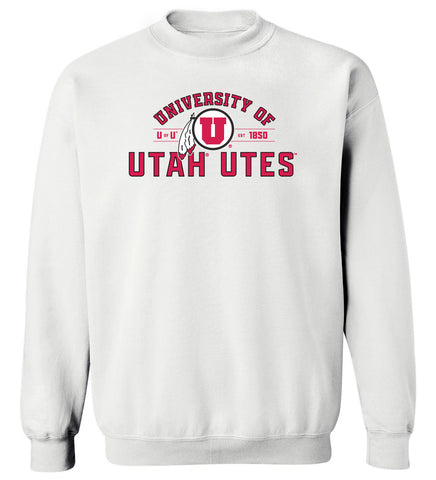 Utah Utes Crewneck Sweatshirt - U of U Arch with Circle Feather Logo