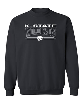 K-State Wildcats Crewneck Sweatshirt - Wildcats with 3-Stripe Powercat