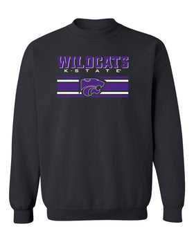K-State Wildcats Crewneck Sweatshirt - Wildcats Stripe Powercat