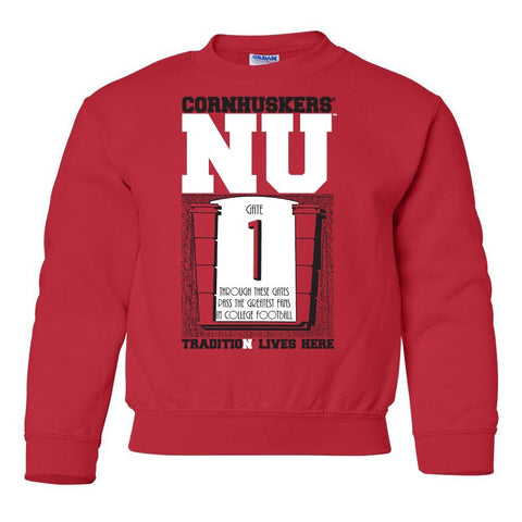 "Nebraska Cornhuskers Football Tradition Lives Here ""Gate 1"" Youth Crewneck Sweatshirt"