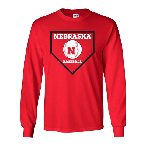 Nebraska Huskers Baseball Home Plate Long Sleeve Tee Shirt