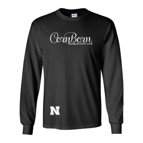 "Nebraska Cornhuskers CornBorn Script ""huskers love red"" Long Sleeve Tee Shirt"