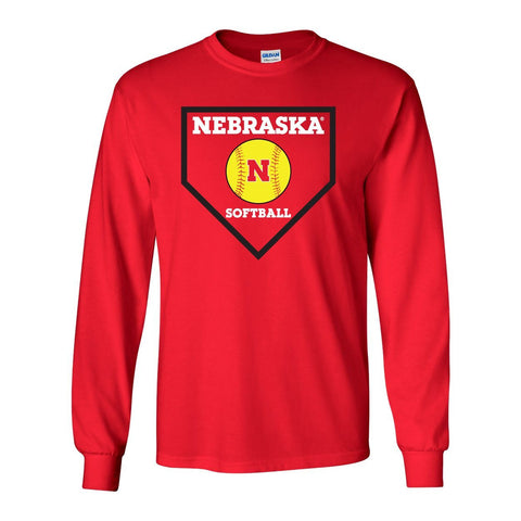Nebraska Huskers Softball Home Plate Long Sleeve Tee Shirt