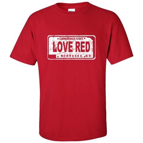 "Nebraska Cornhuskers Football ""LOVE RED"" License Plate Tee Shirt"