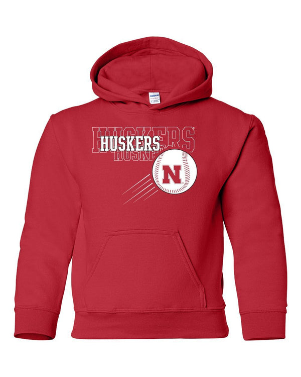 Nebraska Huskers x 3 Baseball Youth Hooded Sweatshirt