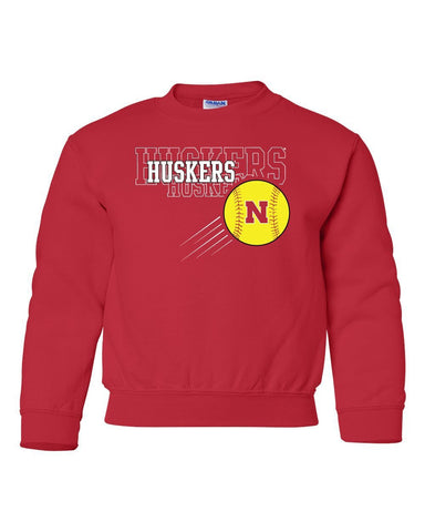 Nebraska Huskers x 3 Softball Youth Crewneck Sweatshirt