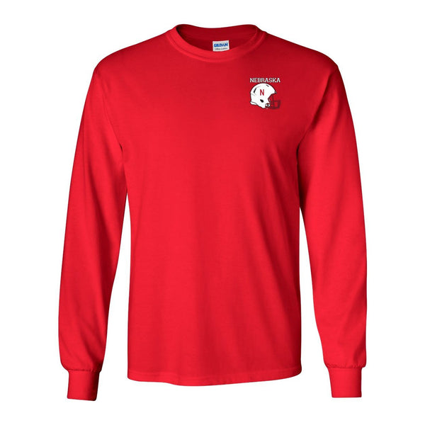 Nebraska Cornhuskers Football Helmet Long Sleeve Tee Shirt