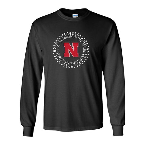 Women's Nebraska HUSKERS Circle Burst Rhinestones Long Sleeve Tee Shirt