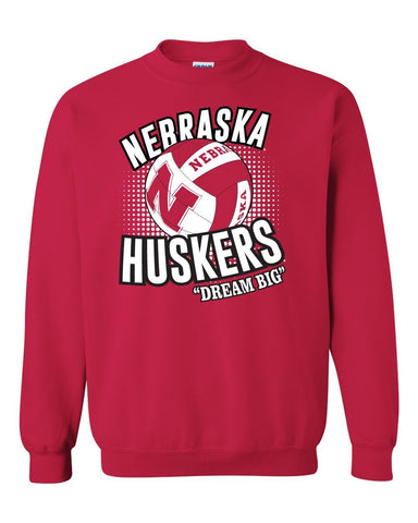 "Nebraska Huskers Volleyball ""Dream Big"" Crewneck Sweatshirt"