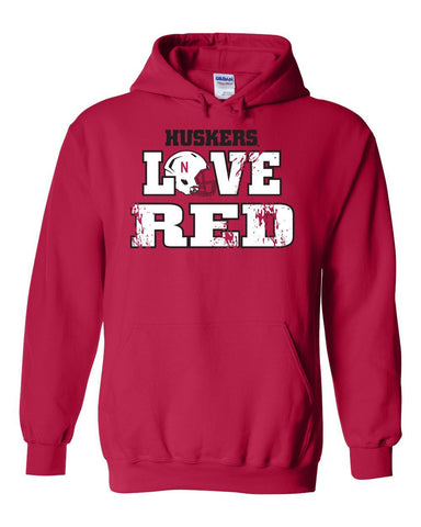 "Nebraska Cornhuskers Football ""LOVE RED"" Helmet Hooded Sweatshirt"