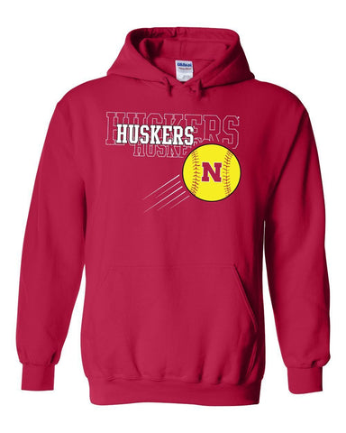 Nebraska Huskers x 3 Softball Hooded Sweatshirt