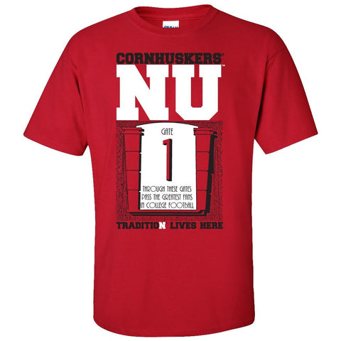 "Nebraska Cornhuskers Football Tradition Lives Here ""Gate 1"" Tee Shirt"