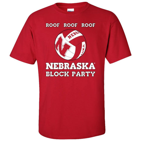 Nebraska Huskers Volleyball ROOF ROOF ROOF Tee Shirt