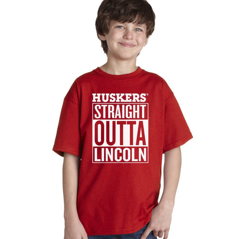 "Nebraska ""HUSKERS STRAIGHT OUTTA LINCOLN"" Youth Boys Tee Shirt"