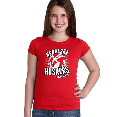 "Nebraska Huskers Volleyball ""Dream Big"" Youth Girls Tee Shirt"
