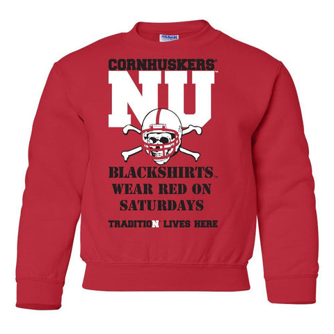 "Nebraska Cornhuskers Football Tradition Lives Here ""Blackshirts"" Youth Crewneck Sweatshirt"