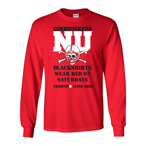 "Nebraska Cornhuskers Football Tradition Lives Here ""Blackshirts"" Long Sleeve Tee Shirt"