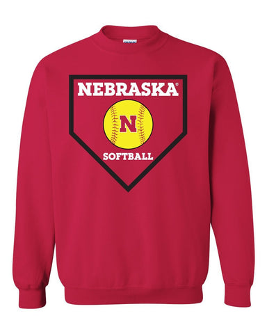 Nebraska Huskers Softball Home Plate Crewneck Sweatshirt