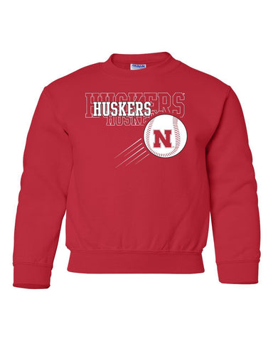 Nebraska Huskers x 3 Baseball Youth Crewneck Sweatshirt