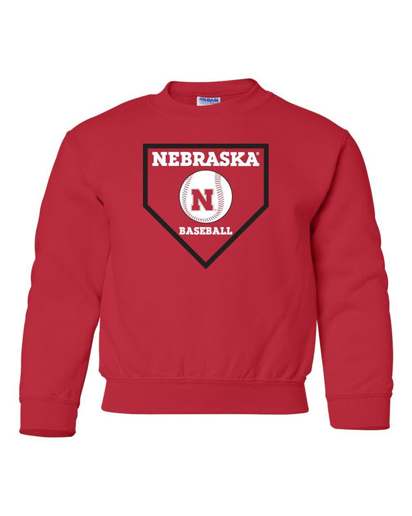 Nebraska Huskers Baseball Home Plate Youth Crewneck Sweatshirt
