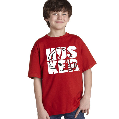 Nebraska Cornhuskers Football HUSKER Helmet Youth Boys Tee Shirt