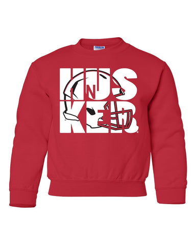 Nebraska Cornhuskers Football HUSKER Helmet Youth Crewneck Sweatshirt