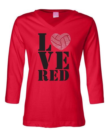 "Women's Nebraska HUSKERS 3/4 Sleeve V-Neck ""LOVE RED"" Volleyball Rhinestones Heart Top"