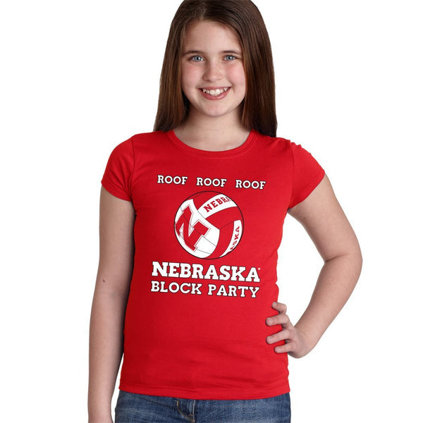 Nebraska Huskers Volleyball ROOF ROOF ROOF Youth Girls Tee Shirt