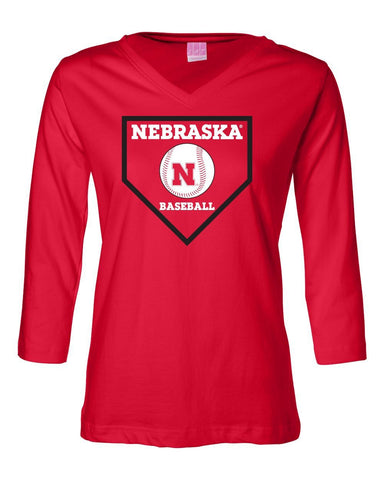 Women's Nebraska Huskers Baseball Home Plate 3/4 Sleeve V-Neck Top