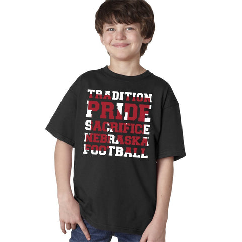 "Nebraska Cornhuskers Football ""TRADITION PRIDE SACRIFICE"" Youth Boys Tee Shirt"